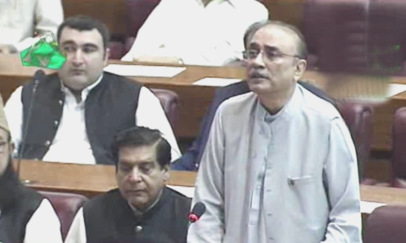 Former president Asif Ali Zardari addressing the joint session. — DawnNewsTV