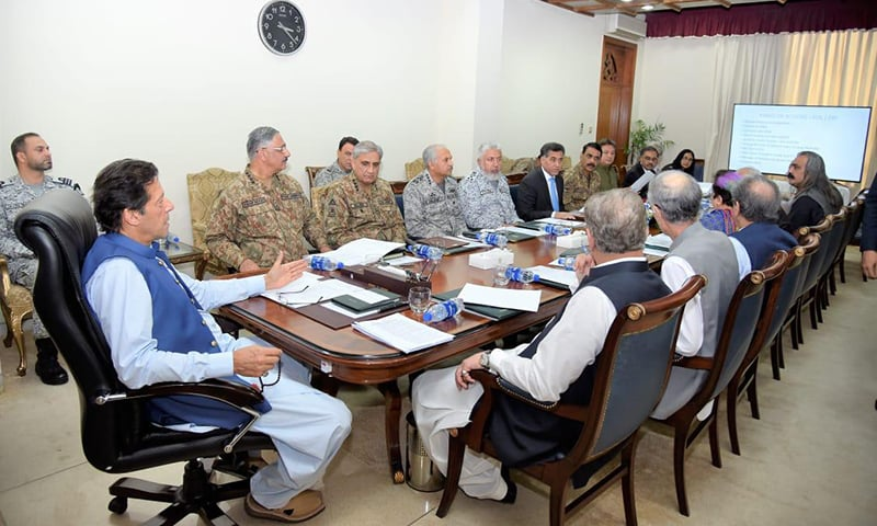 Prime Minister Imran Khan chairs a meeting of the National Security Committee on Wednesday. — Photo courtesy PM Office