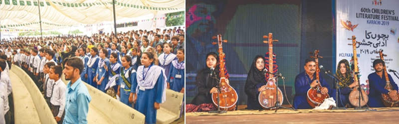 CHILDREN rise for the national anthem at the Arts Council while (right) youngsters perform the kalam of Shah Latif at the CLF on Wednesday.—White Star