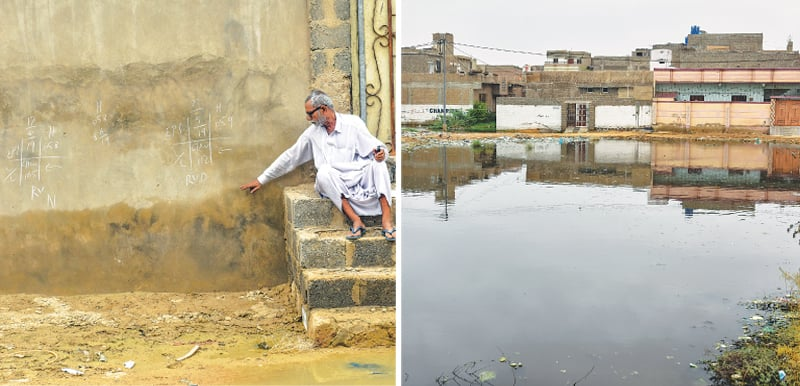 A RESIDENT points out how high the water reached during flooding while (right) a stagnant pool of rainwater in Surjani Town.—Fahim Siddiqi / White Star