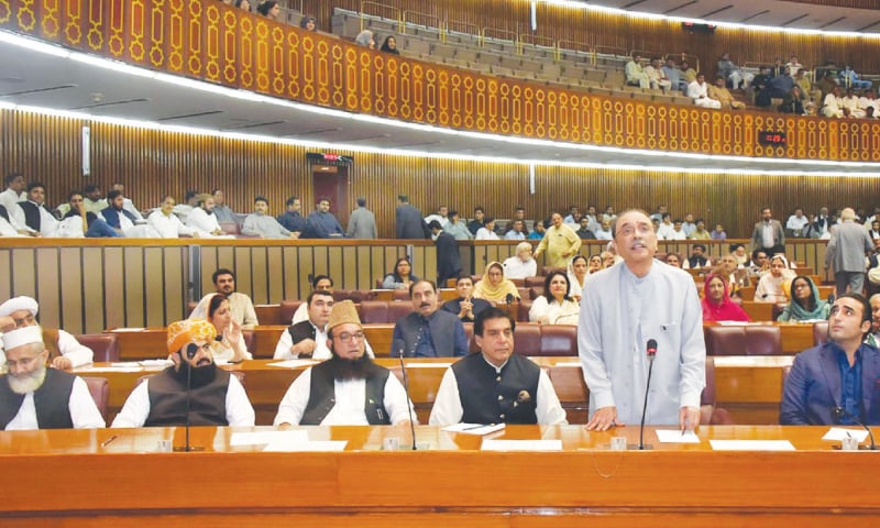 Former president Asif Ali Zardari addresses a joint session of the parliament on Wednesday.—Online