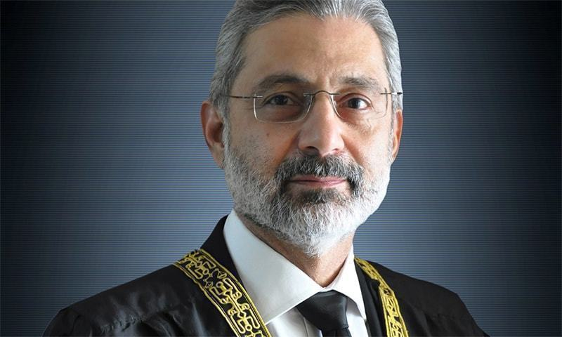 Justice Qazi Faez Isa challenged in the Supreme Court on Wednesday the filing of a presidential reference against him, wondering if it was moved by a proxy with mala fide intention to achieve a collateral purpose. — Photo courtesy Supreme Court website/File