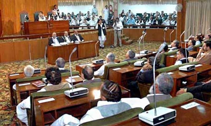 "he Azad Jammu and Kashmir Legislative Assembly on Wednesday met on the first day of its special session to discuss the situation arising out of what it called ""constitutional terrorism"" by India. — APP/File"