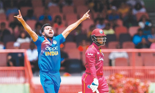 Playing only his second Twenty20 International, Chahar posted figures of 3-1-4-3. — AFP/File