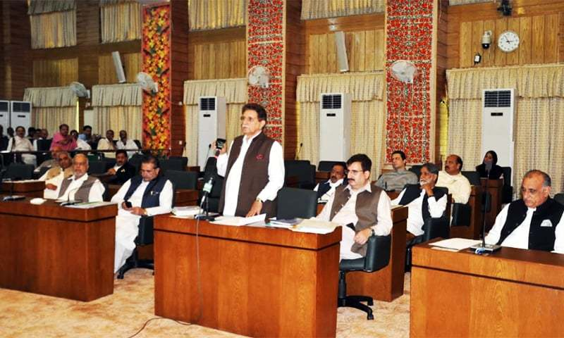 AJK Prime Minister Raja Farooq Haider addresses the legislative assembly on Thursday, Aug 8. — Photo provided by author