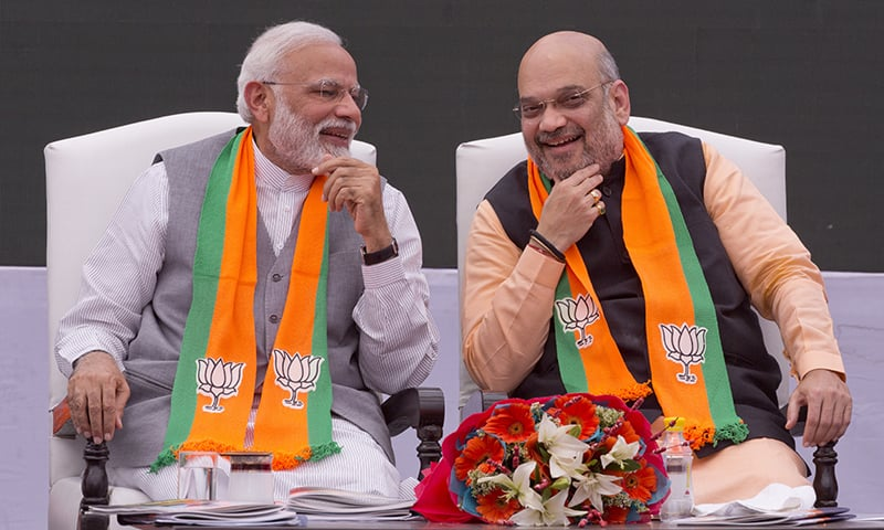 In this April 8, 2019, file photo, Indian Prime Minister Narendra Modi, left, and Bharatiya Janata Party (BJP) President Amit Shah attend the release of BJP's manifesto for the upcoming general elections in New Delhi, India. — AP