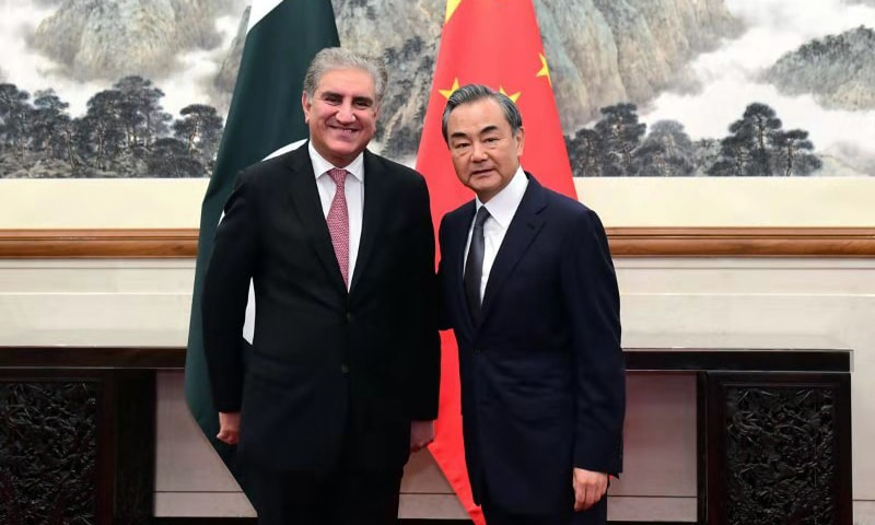 Foreign Minister Shah Mahmood Qureshi was received at Diaoyutai State Guesthouse by Chinese Foreign Minister Wang Yi in Beijing on Friday. — Foreign Office