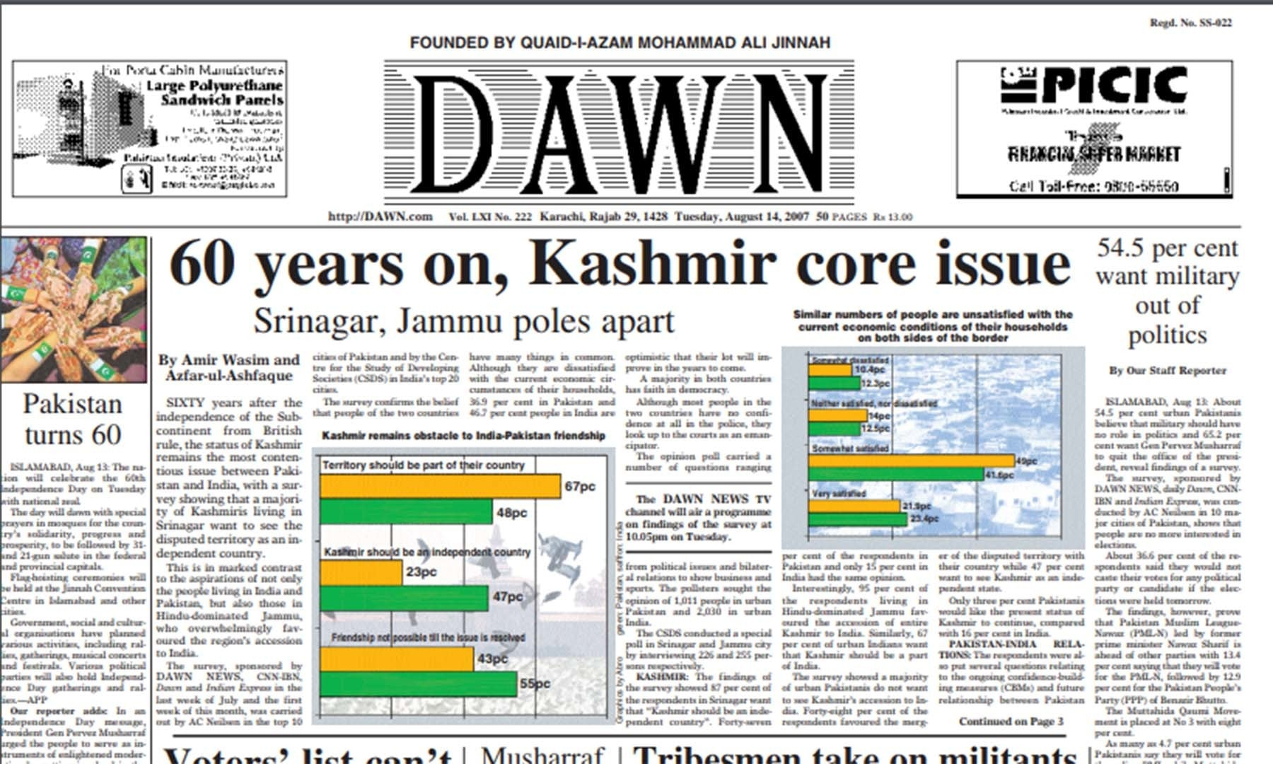 Front page of Dawn on August 14, 2007. — Dawn Archives