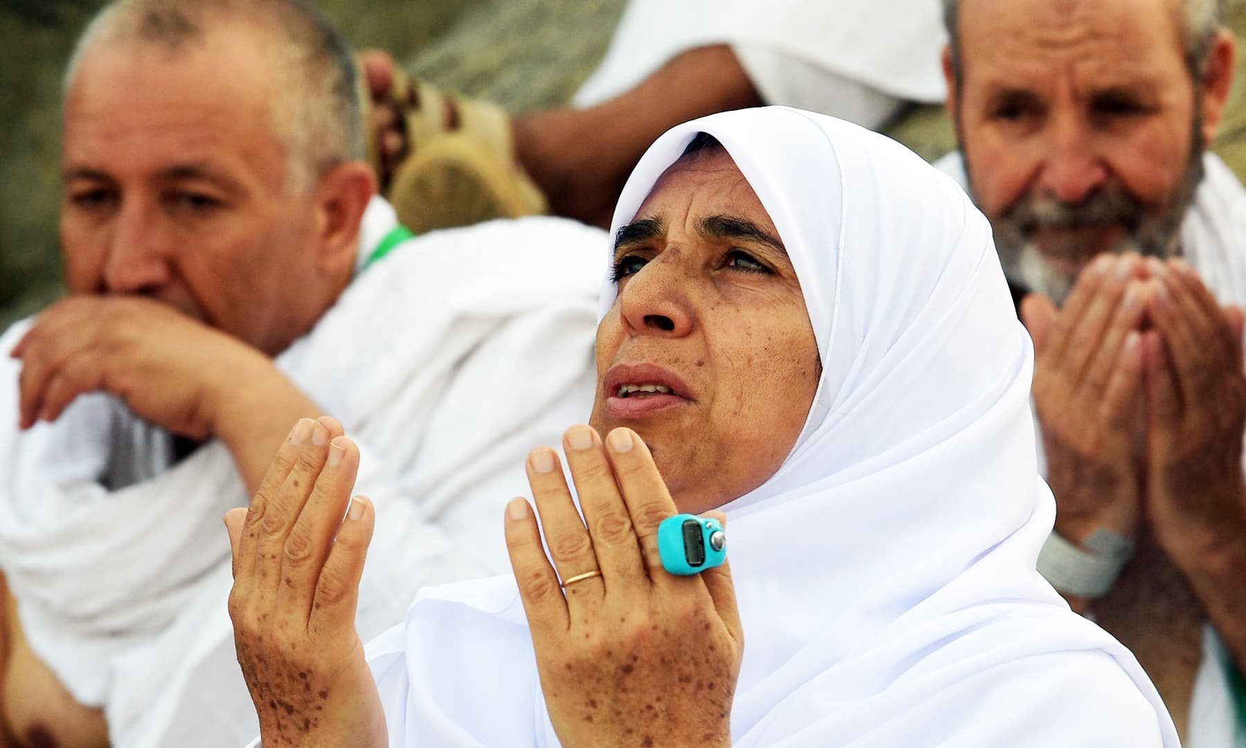 A woman prays at Mount Arafat, south east of Makkah on Saturday. — AFP