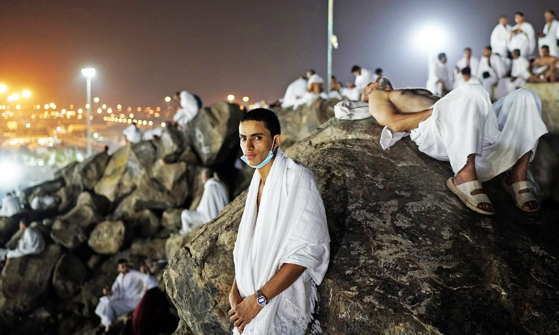 Pilgrims gather on Mount Mercy on the plains of Arafat. — Reuters