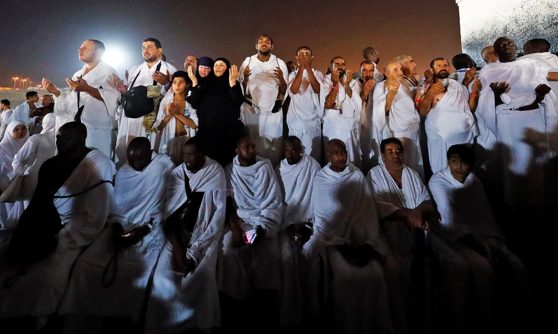 Pilgrims gather on Mount Mercy ahead of departure to Muzdalifa. — Reuters
