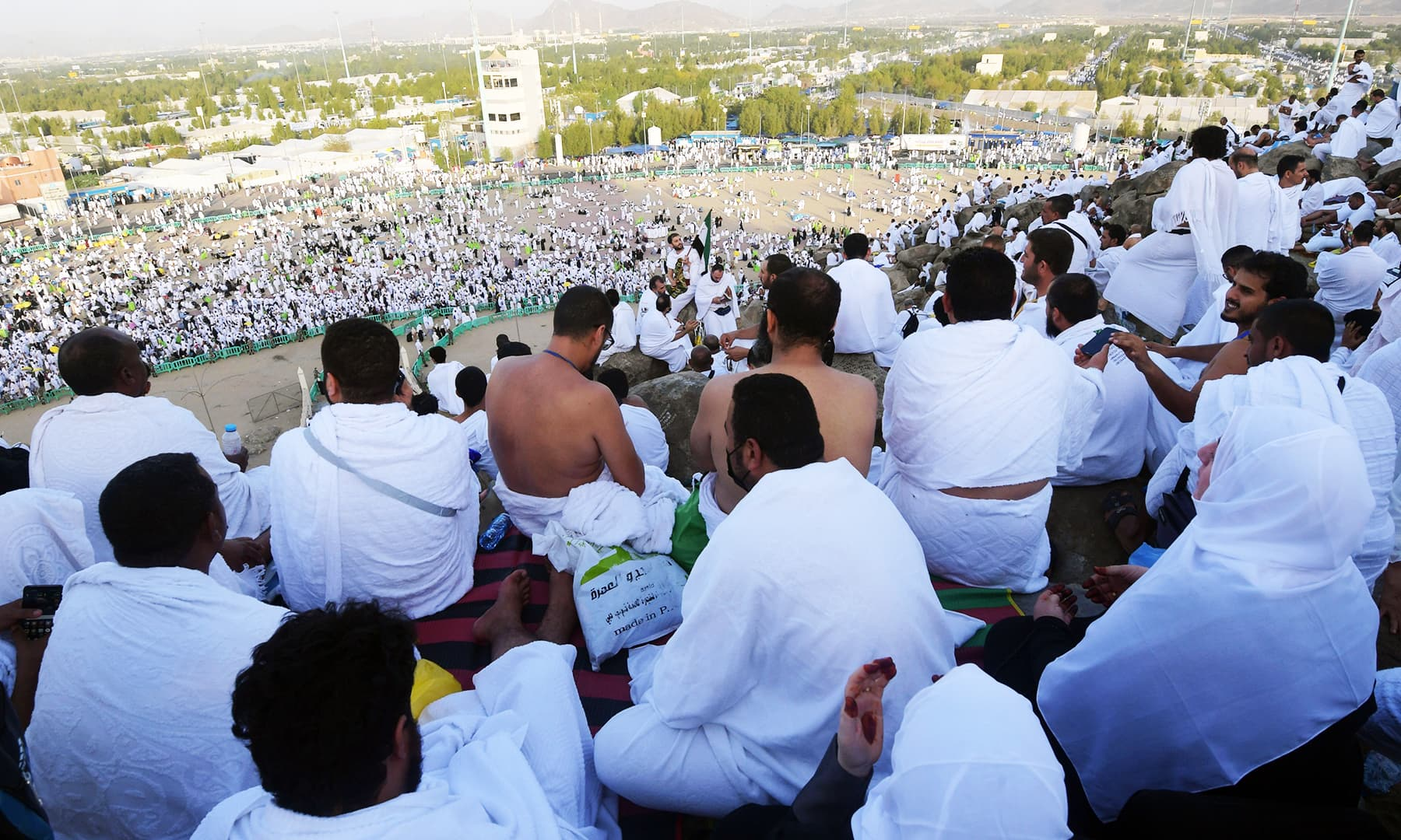 Pilgrims gather on Mount Arafat to listen to the Haj sermon. — AFP