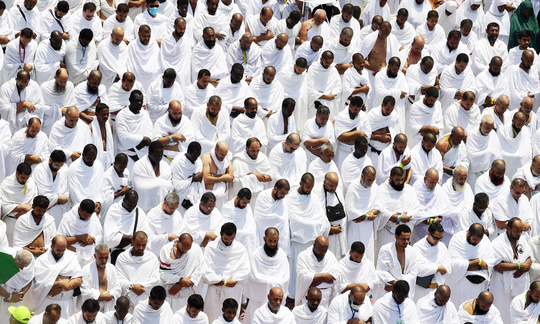 Pilgrims offer prayers at Mount Arafat. — AFP