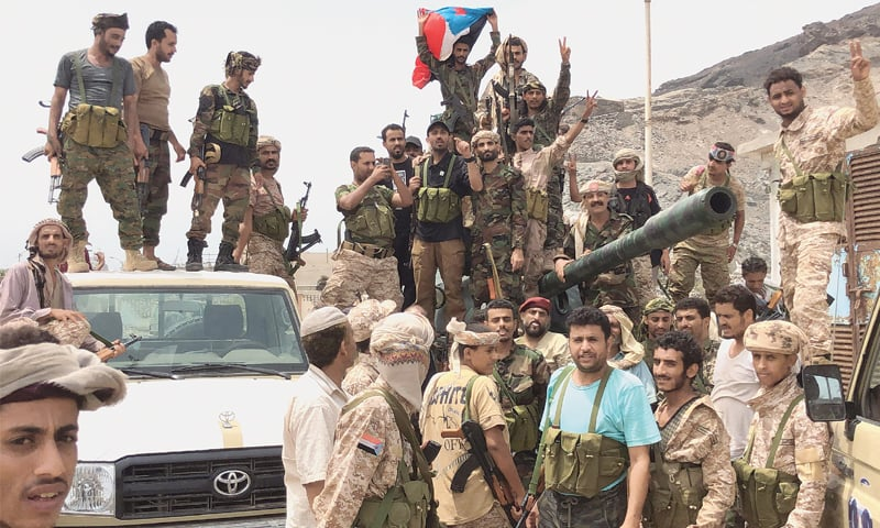 Aden: Supporters of the southern separatist movement pose for a picture on Saturday. — AFP