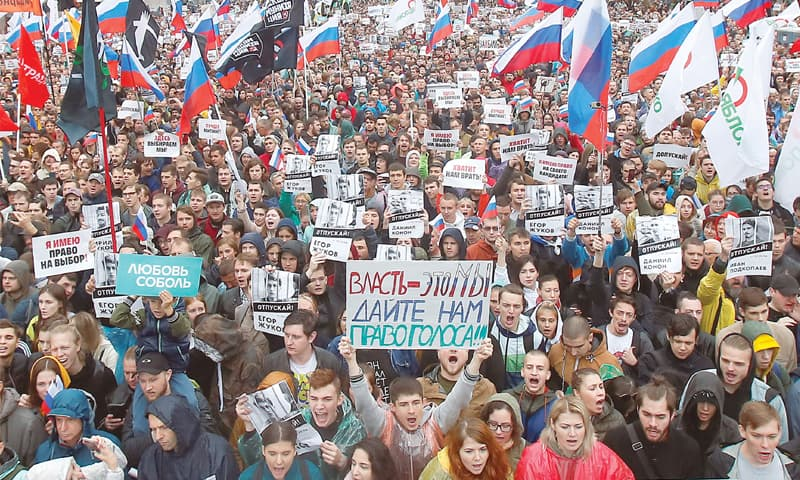 Moscow: People attend a rally to demand authorities allow opposition candidates to run in the upcoming local  election.—Reuters