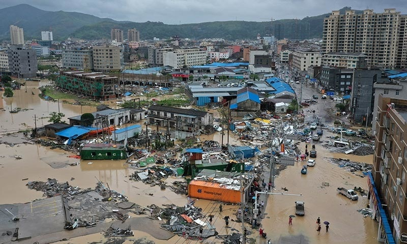 Dajing town is seen damaged and partially submerged in floodwaters in the aftermath of Typhoon Lekima in Leqing, Zhejiang province, China on August 10. — Zhejiang Daily via Reuters