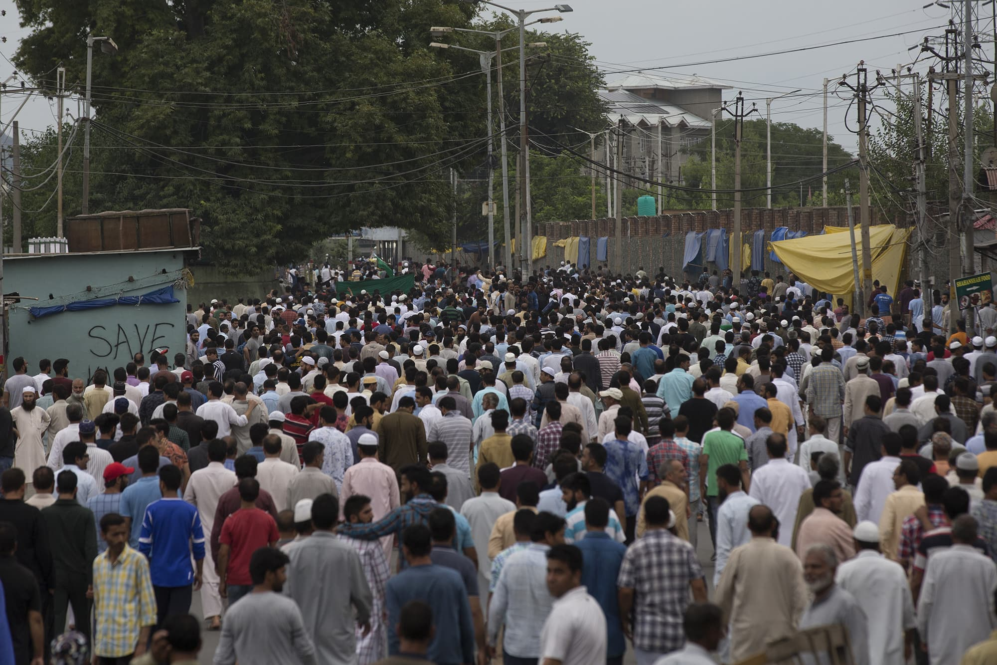 Kashmiri take part in protest march after Friday prayers in Srinagar. ─ AP
