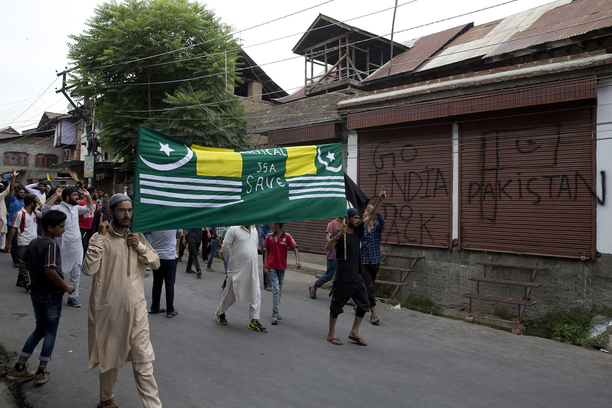 Kashmiris participate in a protest march in Srinagar. ─ AP