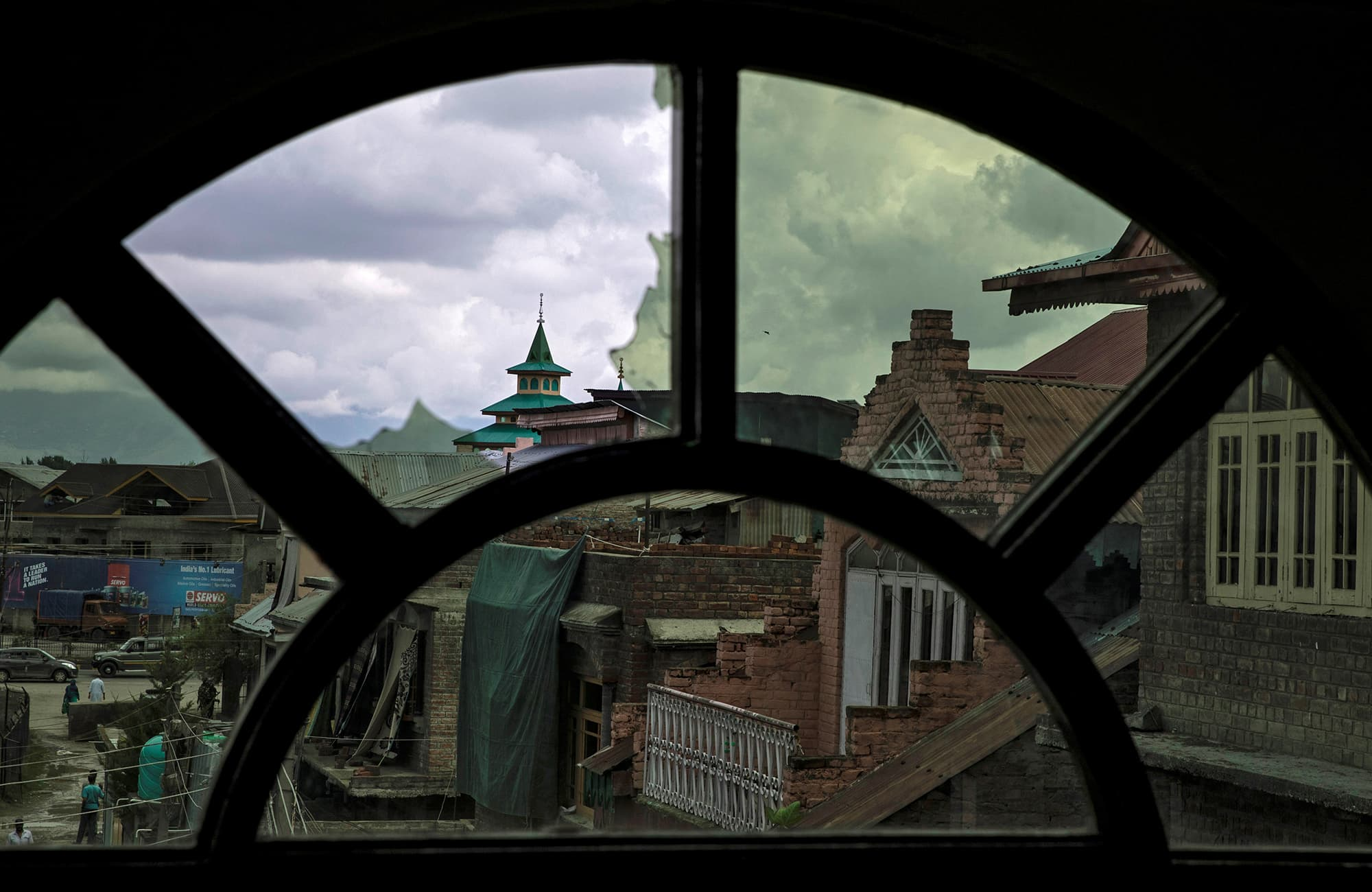A window of a house which was allegedly damaged by Indian security personnel after clashes between protesters and the security forces in Srinagar. ─ Reuters