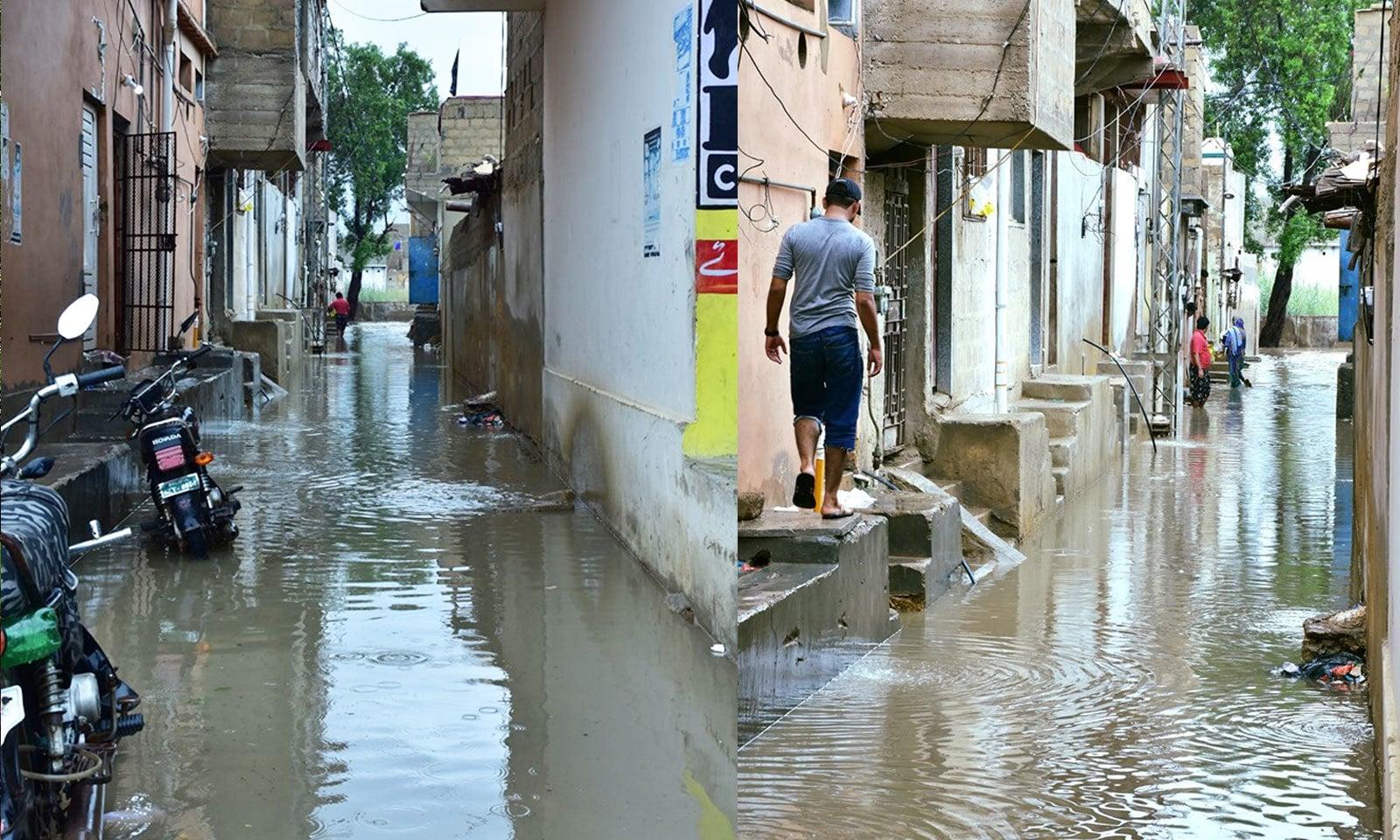سچل گوٹھ میں بھی پانی گھروں میں داخل ہوگیا—فوٹو: غازی حسین/ فیس بک