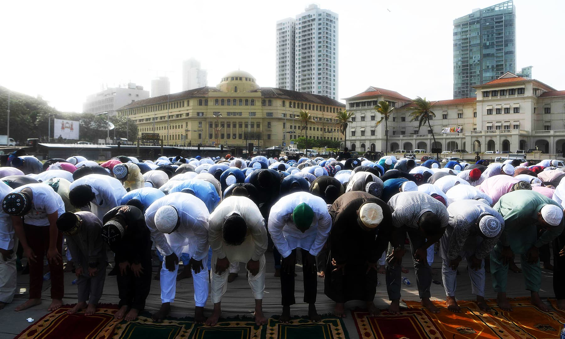 Muslims offer prayers during the Eidul Azha festival in Colombo on August 12, 2019. — AFP