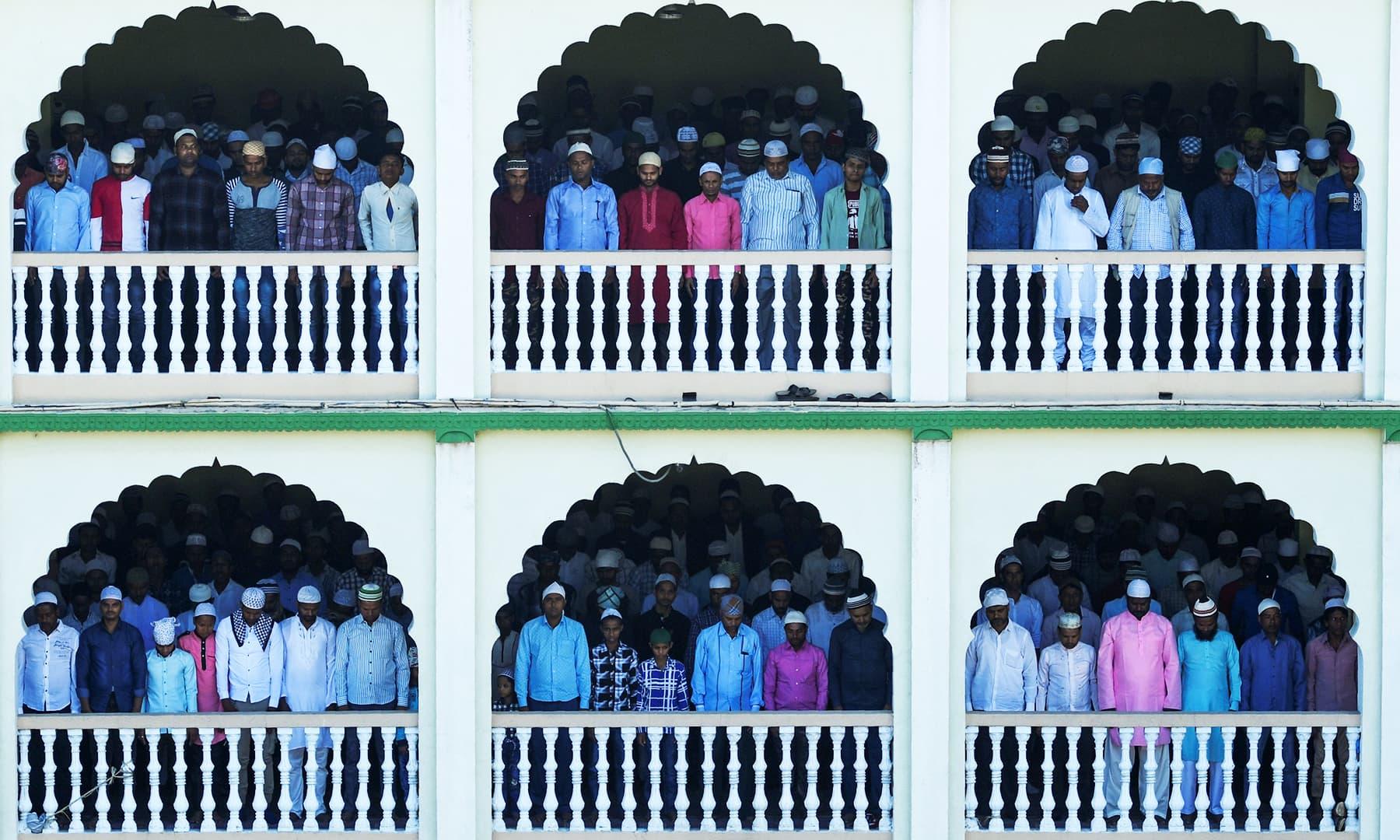 People offer Eidul Azha prayers at Kashmiri Mosque in Kathmandu on Monday. — AFP