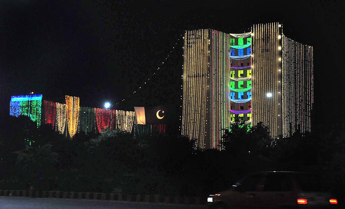 An illuminated view of ZTBL building in Islamabad decorated with colourful lights in connection with Independence Day. — APP