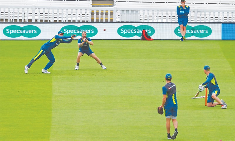 Australian cricketers attend a practice session at Lord's on Tuesday. — AFP