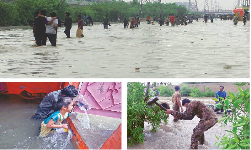(CLOCKWISE) People walk about on a major road in Karachi on Tuesday after rainwater renders it impassable for motorists; a Rangers man uses a sledgehammer to build a conduit for draining water; and two children use small utensils as they try to remove water from their house. — PPI