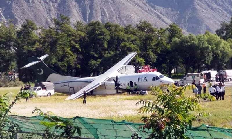 PIA's flight PK-605 from Islamabad to Gilgit with 53 people, including crew members, on board had skidded off the runway and come to a halt in a grassy area next to the tarmac. — Photo courtesy Imtiaz Ali Taj/File