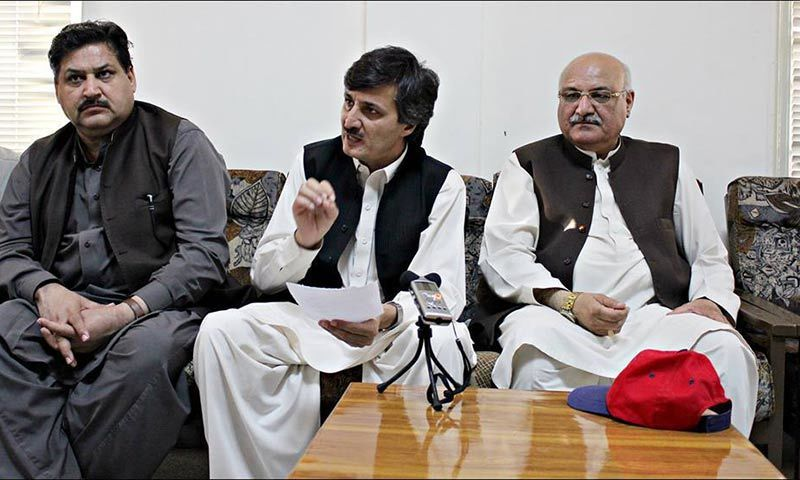 The Awami National Party's provincial general secretary (centre) and elected member of the provincial assembly from Buner district, Sardar Hussain Babak, received a death threat letter from a purported militant organisation on Eid day. — Photo courtesy Sardar Hussain Babak Facebook/File