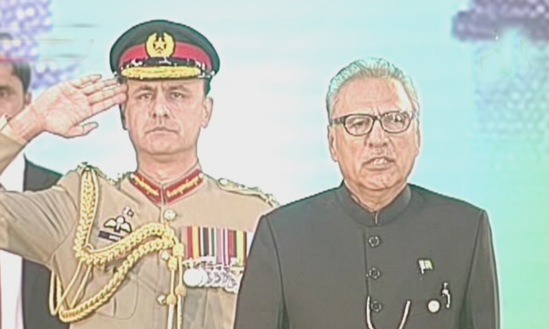 President Dr Arif Alvi at an Independence Day ceremony in Islamabad. — DawnNewsTV