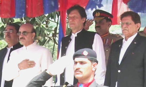 Upon his arrival in Muzaffarabad on Wednesday, Prime Minister Imran Khan was received by AJK President Sardar Masood Khan and AJK Prime Minister Raja Farooq Haider. — Screengrab