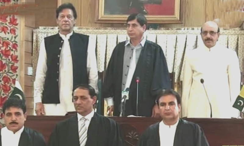 Prime Minister Imran attends a special session of the AJK assembly presided over by Speaker Shah Ghulam Qadir. — Screengrab
