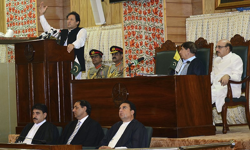 PM Imran Khan addresses the AJK legislative assembly on Wednesday. — AP