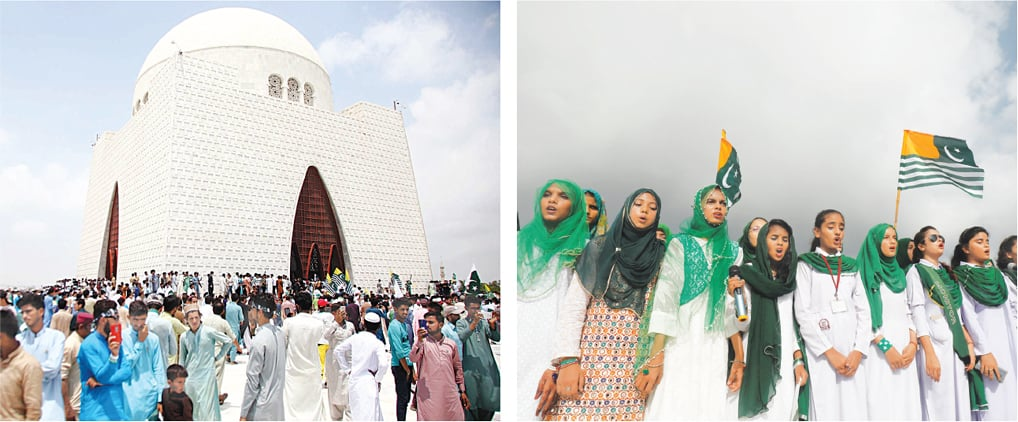 PEOPLE throng the Quaid's mazar on Wednesday to pay homage to the Father of the Nation while (right) schoolgirls sing the national anthem with AJK flags fluttering in the background. —PPI / Reuters