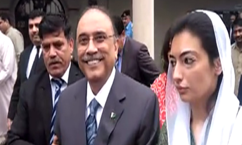 Speaking at a press conference, PPP secretary general Farhatullah Babar, along with Senator Mustafa Nawaz Khokhar, on Wednesday said Aseefa Bhutto-Zardari  was turned back by NAB officials when she went to meet her father under court orders. — DawnNewsTV/File