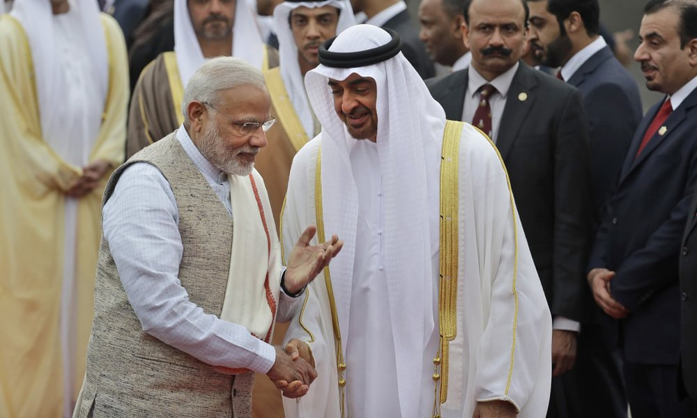In this 2017 file photo, Indian Prime Minister Narendra Modi, left, gestures as he receives Abu Dhabi's Crown Prince Sheikh Mohammed bin Zayed Al Nahyan at the airport in New Delhi, India. — AP
