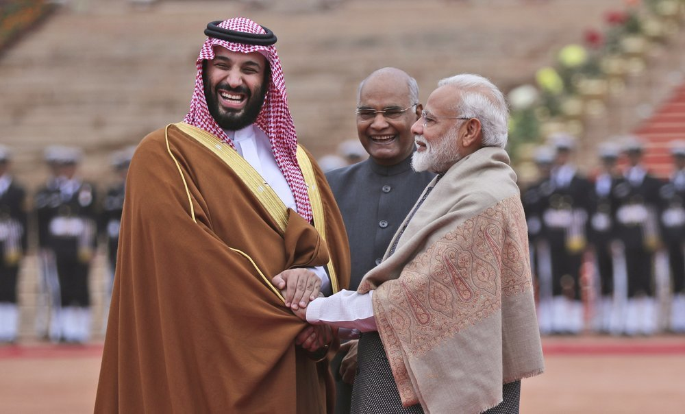 In this Feb 20, 2019 file photo, Saudi Arabia's Crown Prince Mohammed bin Salman shakes hand with Indian Prime Minister Narendra Modi during a ceremonial welcome in New Delhi, India. ─ AP