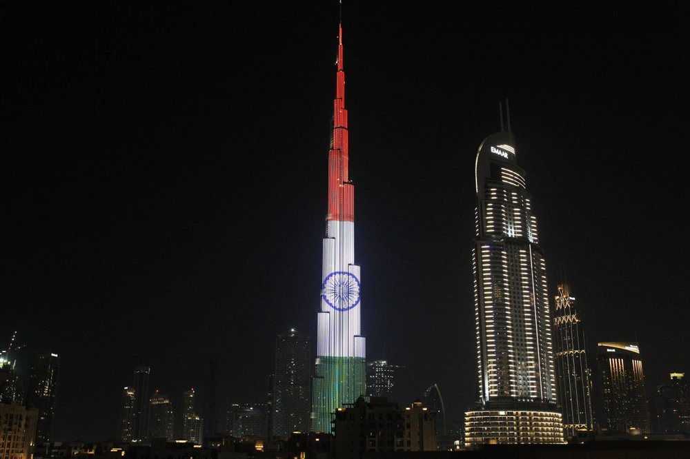 In this Feb 10, 2018 file photo, the Burj Khalifa displays the flag of India to honor the visit of Indian Prime Minister Narendra Modi, in Dubai. ─ AP