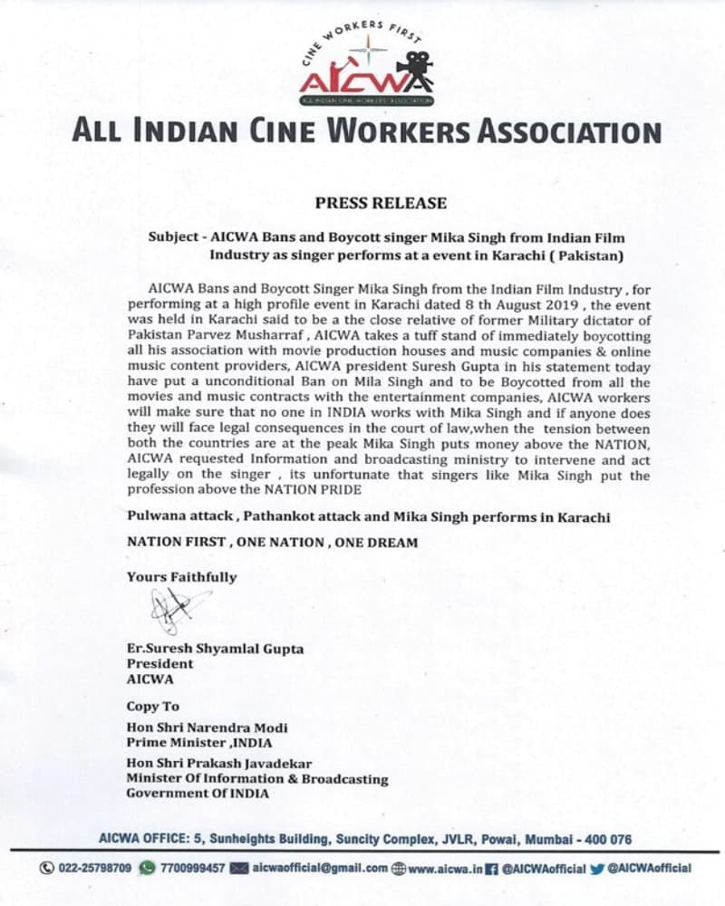 AICWA statement against Mika Singh