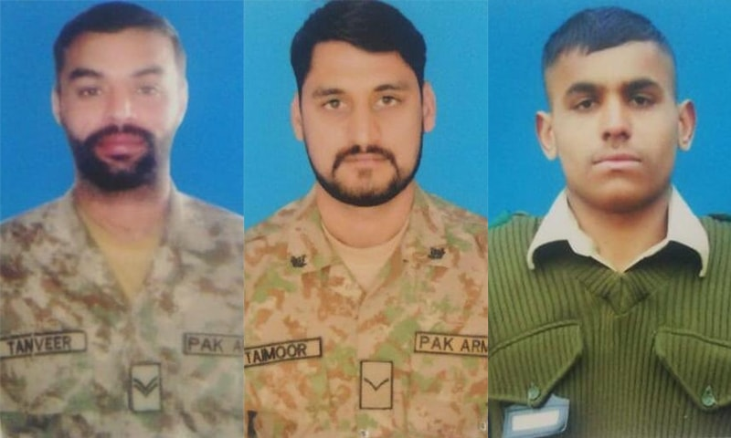 Pakistan Army soldiers who lost their lives include Naik Tanveer (L), Lance Naik Taimoor (C) and Sepoy Ramzan (R). — Photo courtesy ISPR Twitter account