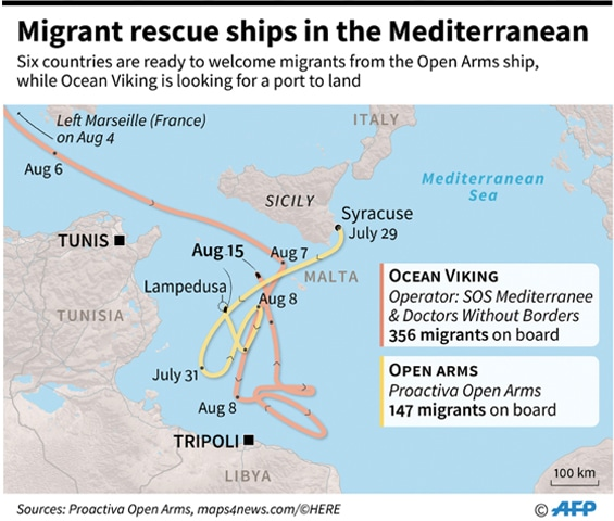 Six EU nations ready to take in migrants on boat