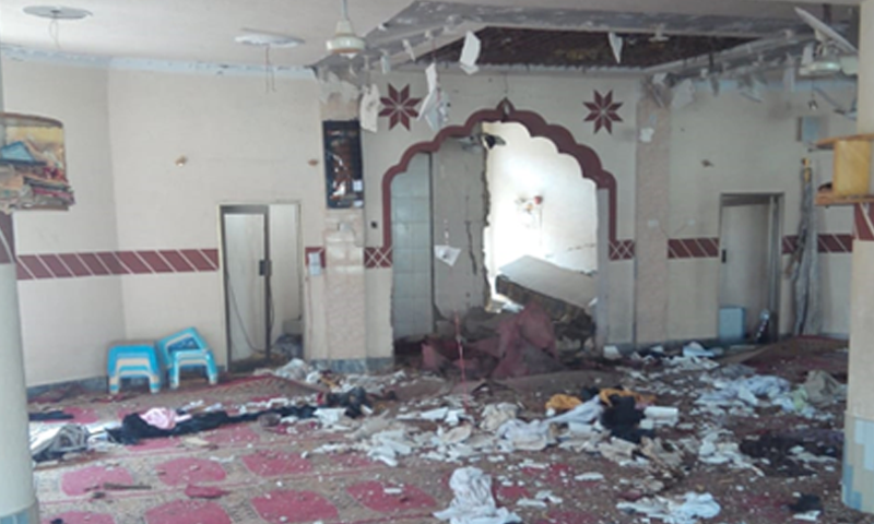 A view of the damaged madressah following the blast in Quetta. — DawnNewsTV