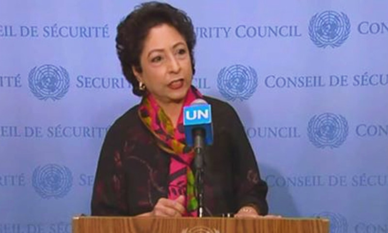 Pakistan's ambassador to the United Nations Maleeha Lodhi addressing a media briefing following the meeting of the United Nations Security Council to discuss the situation in Kashmir on Friday. — DawnNewsTV