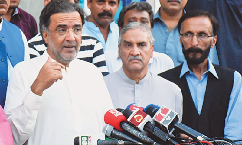 Qamar Zaman Kaira addresses a press con­ference on Friday.—INP
