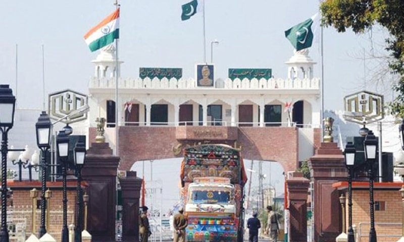 A truck carrying goods crosses into Indian territory at Wagah border. Bilateral trade between the two neighbours reached around $2.2bn in 2017 but the trade ties collapsed after India changed Occupied Kashmir's status.