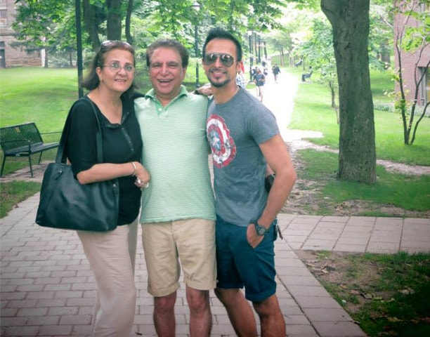 Ali with his parents, Sahira and Rahat Kazmi