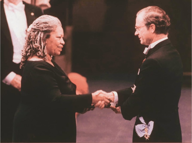 Toni Morrison receiving the Nobel Prize for literature from King Carl XVI Gustaf of Sweden in the Concert Hall in Stockholm | AP