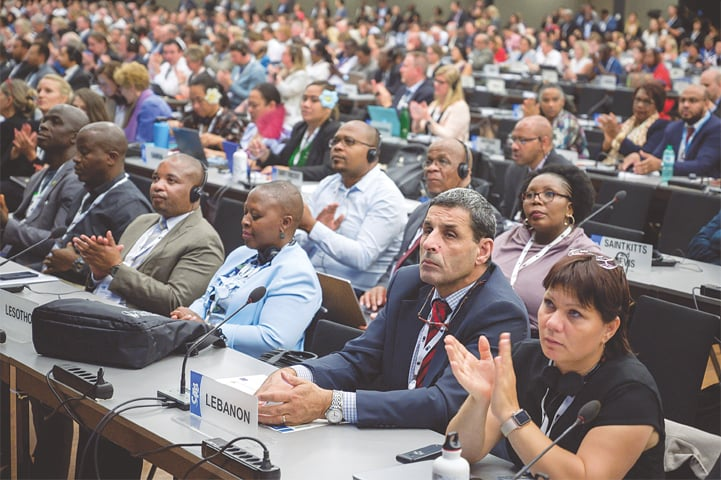 Geneva: Delegates attend the United Nations's Convention on International Trade in Endangered Species (CITES) at the opening day of the World Wildlife Conference — CITES CoP18 — on Saturday.—AFP